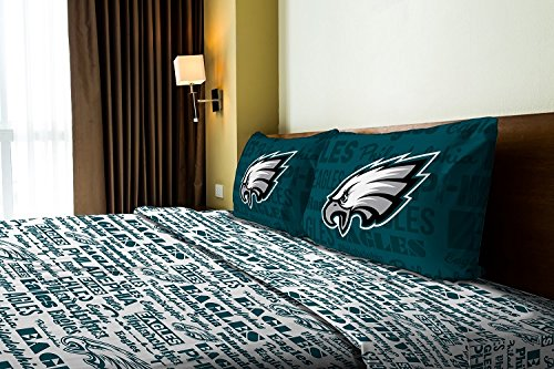 Philadelphia Eagles - Twin Size - Team Colored Anthem Sheet Set - Set Includes: (1 Twin Size Flat Sheet, 1 Twin Size Fitted Sheet, 1 Pillow Case) Save Big On Bundling! front-868137