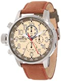 Invicta Mens 12083 I-Force Chronograph Matte Ivory Dial Brown Cloth Watch