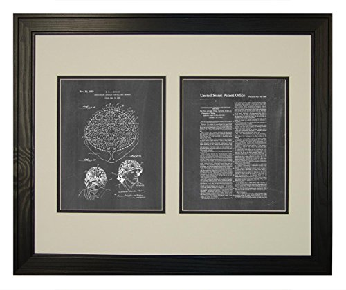 "Camouflaging Covering For Military Helmets Patent Art Chalkboard Print in a Solid Pine Wood Frame (20"" x 24"")"