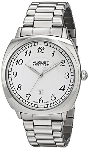 August Steiner Men's 42.5mm Steel Bracelet Metal Case Quartz Date Watch AS8160SS