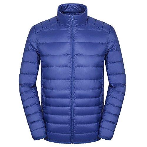 Faston ライト ダウン ジャケット メンズ 超軽量 カジュアル 防寒 暖かい 秋 冬 ウルトラライト コート 6NL-1 (M, 紺)