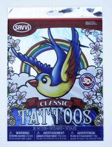 Savvi Set of 50 Temporary Tattoos, Classic