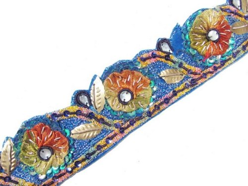 1.4 Yd Blue Cut Work Floral Trim Garment Embellishment