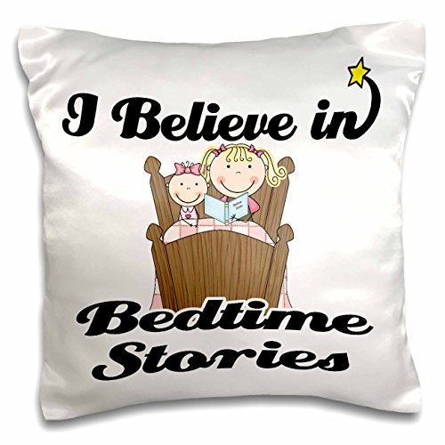 Dooni Designs I Believe In Designs - I Believe In Bedtime Stories Girl - 16x16 inch Pillow Case (pc_104795_1)