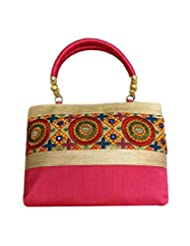 Bhamini Raw Silk Handbag With Embroidered Patch Work (Pink)