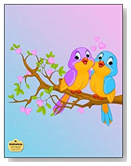 Lovebirds And Hearts Notebook - Two cute lovebirds in a tree provide a teal and purple color scheme for the cover of this blank and college ruled notebook with blank pages on the left and lined pages on the right.