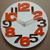 (Goods Mall) 3D Big Digit Modern Contemporary Kitchen Office Home Decor Round Wall Clock White