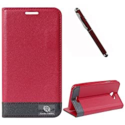 DMG HTC DESIRE 516 Flip Cover, DMG PRaiders Premium Magnetic Wallet Stand Cover Case for HTC DESIRE 516 (Pink) + 4in1 Laser Torch Stylus Pen