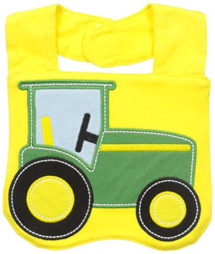 John Deere Baby-Boys Newborn Tractor Bib, Yellow-Green, One Size