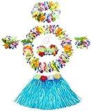 WISDOMTOY 6- piece Holiday Christmas Party Costumes Hawaiian Hula Grass Skirt Dance Wears Clothing Set, Blue