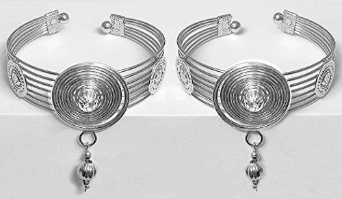 DollsofIndia Metal Cuff Bracelet - White Metal - White