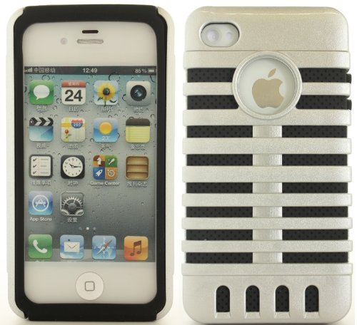 Silver Black Retro Elvis Style Microphone Cover Case For Apple Iphone 4S 4