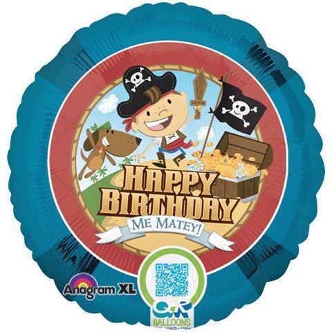 "Happy Birthday Me Matey Pirate 18"" Mylar Balloon Boy Dog Treasure"