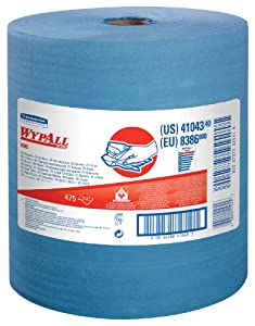 "WypAll X80 Reusable Wipes, Extended Use Wipers (41043) Blue, 12.5"" Width x 13.4"" Length(1 Roll per Case, 475 Sheets per Roll)"