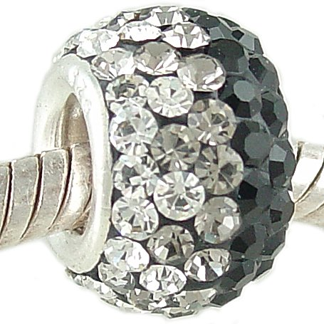 925 Silver European Charm Bead with Black & Crystal PAVE