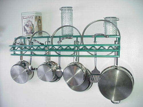 Cheap Wall Pot Pan Lid Shelf Rack Western Style Steel Lid Rails choose (wswes)