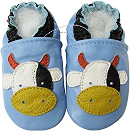 Carozoo baby boy soft sole leather infant toddler kids shoes Cow Light Blue 3-4y