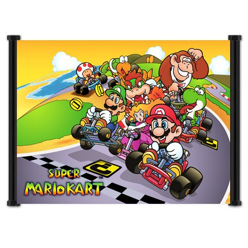 Super Mario Kart Classic Game Fabric Wall Scroll Poster (42