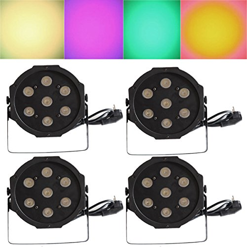 Yiscor Stage Lighting Led Par Light 7Leds 70W Rgbw 4In1 Dmx512 For Dj Disco Club Home Garden Xmas Christmas Birthday Show Party Effect (Pack Of 4)