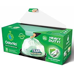 OdorNo Heavy Duty Disposal Bags, 13 Gallon, Box/25 by OdorNo LLC