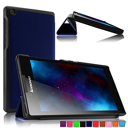 Infiland Tri-fold Shell PU Leather Case Cover for Lenovo Tab 2 A7-30 17,8 cm (7 Zoll IPS) ( Navy)