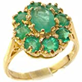 Luxury Ladies Solid Yellow 9ct Gold Natural Emerald Large Cluster Ring - Size O.5 - Finger Sizes K to Z Available - Perfect Gift for Mum, Wife, Daughter, Grandaughter, Grandma