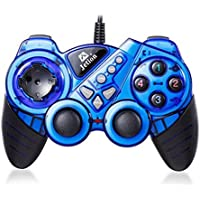 Dual Shock Wired USB Gamepad Controller For PC With Gripped Joysticks Ergonomic Design Vibration Force Feedback... - B00S879BEI