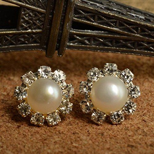 Simple Elegant Round Pearl With Rhinestones Stud Earrings White By Preciastore