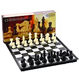 Folding Travel Chess Set by MAZEX for Kids or Adults Chess Board Game 12.5X12.5X0.8 Inch (Black&White Chess Pieces)