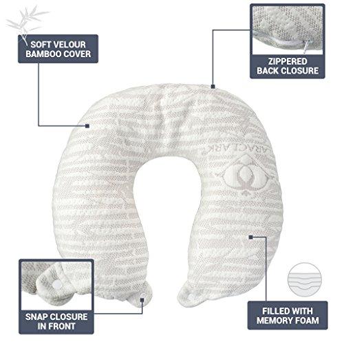 Review Clara Clark Hypoallergenic Memory Foam Travel Pillow, Large, White