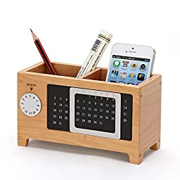 Becry Natural Creative Maple Wooden Pencil Pen Case Box Table Caddy Cosmetic Storage Remote Control Holder with Calendar