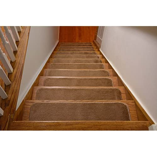 Comfy Stair Tread Treads Indoor Skid Slip Resistant Carpet Stair Tread Treads Machine Washable 8 ½ inch x 30 inch (Set of 13, Beige)