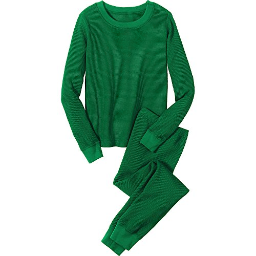 Hanna Andersson Little Girl Thermal Long John Pajamas In Organic Cotton, Size 110 (5), Tree Green front-1050608