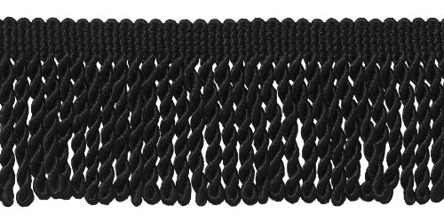 2.5 Inch Bullion Fringe Trim, Style# EF25 Color: BLACK - K9, Sold By the Yard