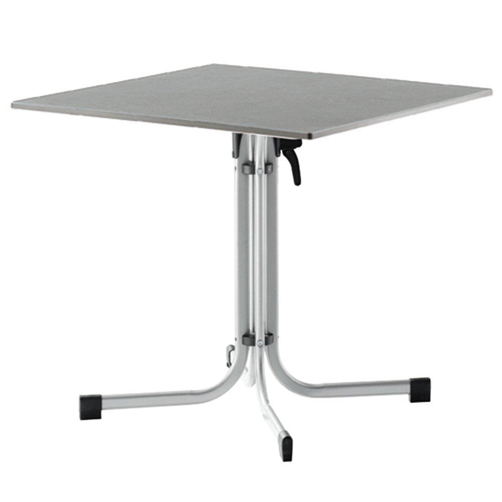Sieger 1330-45 Gastro-Tisch mit Puroplan-Platte 80 x 80 cm, Stahlrohrgestell graphit, Tischplatte Schieferdekor hellgrau