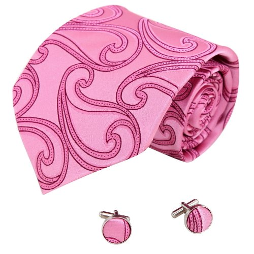 A1023 Pink Patterned Dress Presents Idea Mens Series Presents Idea Silk Tie Cufflinks Set 2Pt By Y&G