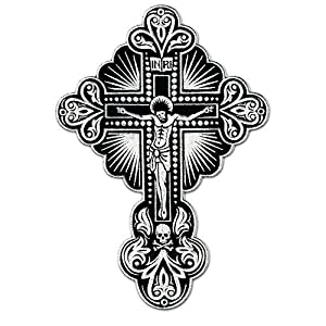 Crucifix Embroidered Patch Lord Jesus Christ Cross Skull Patch Embroidered Iron on Hat Jacket Hoodie Backpack Ideal for Gift/ 20.7cm(w) X 30cm(h)
