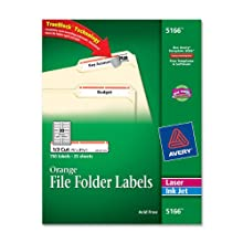 Avery Orange File Folder Labels for Laser and Inkjet Printers with  TrueBlock(TM) Technology, 2/3 inches x 3-7/16 inches, Pack of 750 (5166)