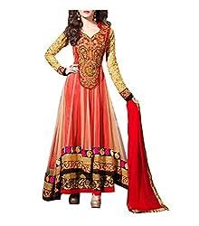 WXW Fashion Women's Brasso and Net Salwar Suit Dress Material(WXWAZ1900 _Red)