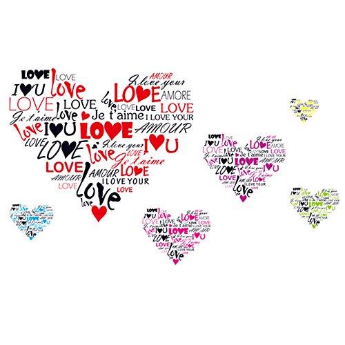 Winhappyhome multilingue Ti amo Hearts Wall Stickers per Camera da letto Soggiorno Divano TV Sfondo Adesivi per la casa decalcomanie
