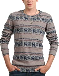 Doublju Casual Reindeer Crewneck Shirt
