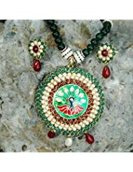 Traditional Green pacchi pendant jewellery set