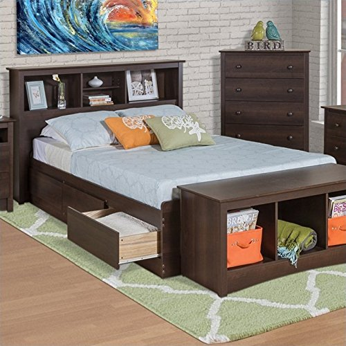 Prepac Manhattan Bookcase Platform Storage Bed in Espresso Finish - Full
