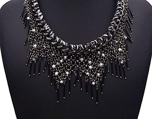 Girl Era Fashion Party Tassels Sweater Chain Bib Temperament Necklace Exaggerated Female Pendant Womens(Black)