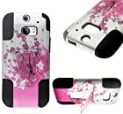 myLife Splashed White and Strawberry Pink Japanese Blossoms {Modern Design} Two Piece Neo Hybrid (Shockproof Kickstand) Case for the All-New HTC One M8 Android Smartphone - AKA, 2nd Gen HTC One (External Hard Fit Armor With Built in Kick Stand + Internal Soft Silicone Rubberized Flex Gel Full Body Bumper Guard)