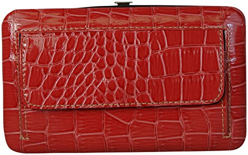 Texcyngoods Womens Croco Embossed Framed Flat Clutch Wallet with Checkbook Cover (Hot Pink)