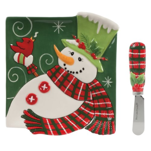 Fitz And Floyd Holly Hat Snowman Snack Plate With Spreader