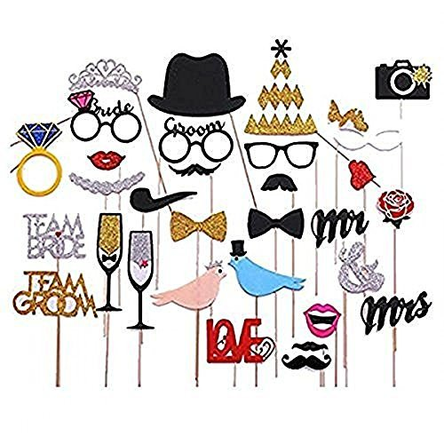31pcs Fashion Bling Colourful Props Photo Booth Props Panel Hen Party Fun Accessories Wedding Baby Christmas Birthday Anniversary Newborn Party Shower Decor Mustache Crown Ring Kiss Mouths