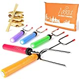 Marshmallow Roasting Sticks kit-Telescoping Stainless Steel Cookware Set Forks for Smores - Best Camping Accessories for Kids over campfire & Hot Dog Fire Pit Cooking - BONUS Bag & 10 Bamboo skewers