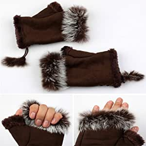 Likable Girl/Lady Rabbit Fur Hand Wrist Warmer Winter Warmer Fingerless Gloves